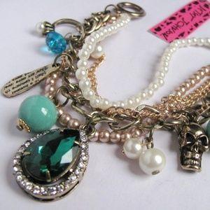 Betsey Johnson Crystal Resin & Pearl Bracelet